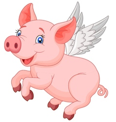 Cute pig cartoon flying vector