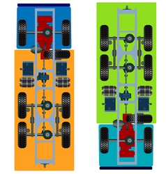 Truck suspension top view vector