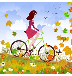 Autumn girl bike vector