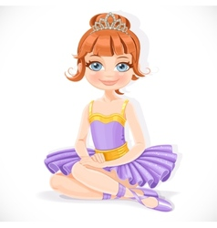 Beautiful ballerina girl in purple dress and tiara vector