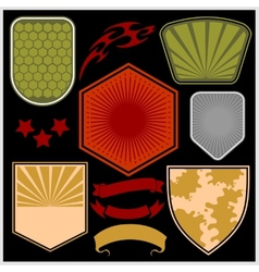 Military shields and elements - set vector