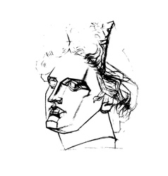 Academic drawing of the head of apollo vector