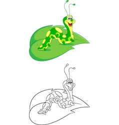 Caterpillar coloring page vector