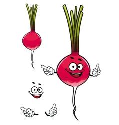 Happy fresh cartoon radish vegetable vector