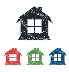 House grunge icon set vector