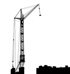 Silhouette of one cranes working on the building vector