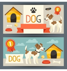 Horizontal banners with cute dog icons and objects vector