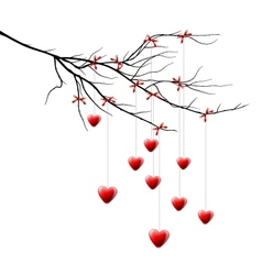 Valentine background branch with hearts vector