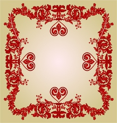 Valentine heart frame greeting and floral ornament vector