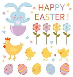 Cute easter set vector