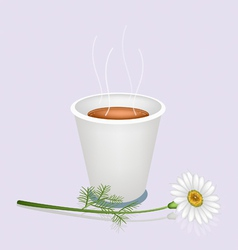 A hot coffee in disposable cup and white daisy vector