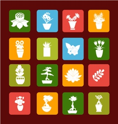 Set icons of plant silhouette collection vector