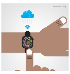 Smart watch on businessman hand vector