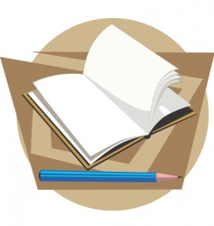Book and pencil vector