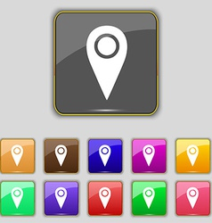 Map pointer icon sign set with eleven colored vector