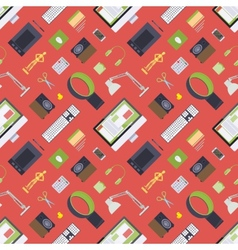 Seamless pattern with items from the digital vector