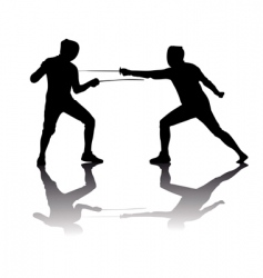 Black silhouettes of athletes fencers vector
