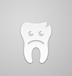 Sad tooth whith fissure vector