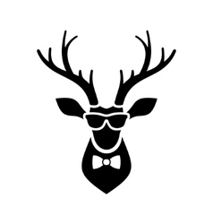 Deer head icon with hipster sunglasses and bow tie vector