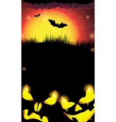 Night pumpkin monsters with glowing eyes vector