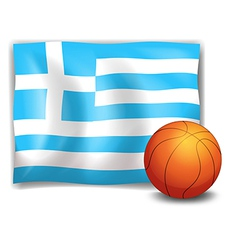 The flag of greece at the back of a ball vector
