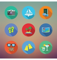 Vacation or travelling flat style icon set with vector