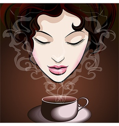 Woman enjoying coffee vector