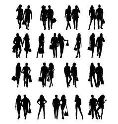 Silhouettes of couples vector