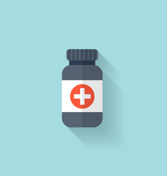 Flat bottle with medical pills icon tablets vector