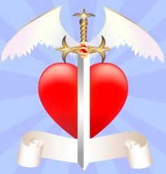 Sword and heart vector