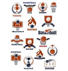 Basketball emblems with sports heraldic elements vector