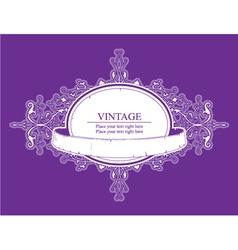 Retro floral label vector