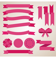 Flat color ribbons badges bookmarks and bow vector