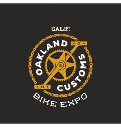 Retro bike custom show expo label or logo vector