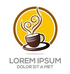 Logo sketch of coffe cup hot chocolate granule vector