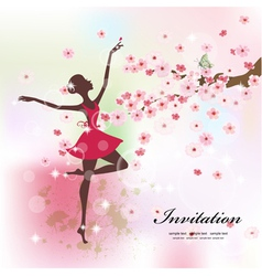 Ballerina invitation card vector