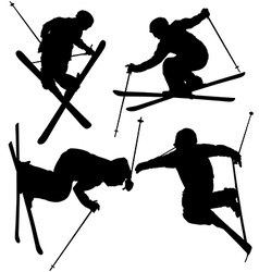 Freestyle skier silhouette vector
