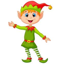 Cute christmas elf cartoon presenting vector