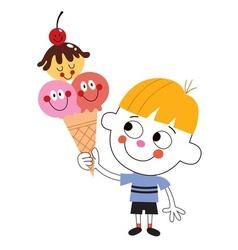 Little boy eating ice cream cone vector
