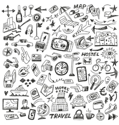 Travel - big doodles set vector