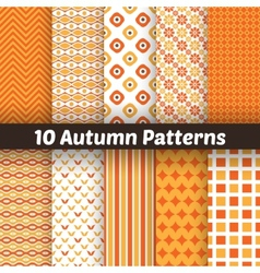 10 autumn seamless patterns endless texture for vector