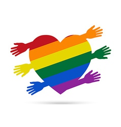 Gay flag in the form of heart with colored hands vector