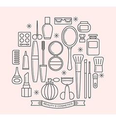 Beauty and cosmetics thin line outline icons set vector