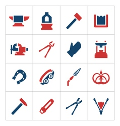 Set color icons of forge vector