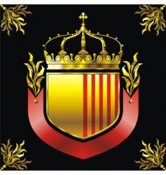 Shield and crown vector