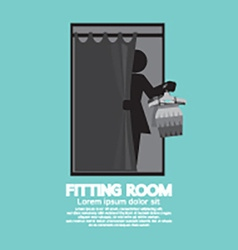 Fitting room black graphic vector