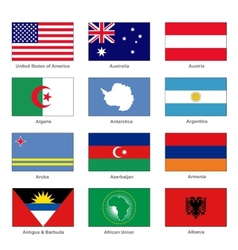 World flags set name country of letter a vector