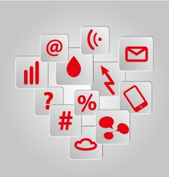 Icons background set red telecommunications vector