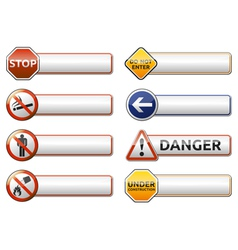 Danger prohibition sign banner collection vector