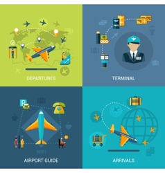 Airport flat set vector